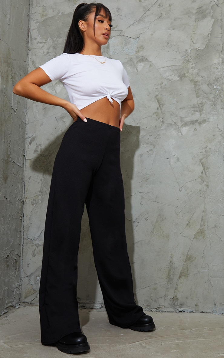 Petite Black Wide Leg Trousers 1