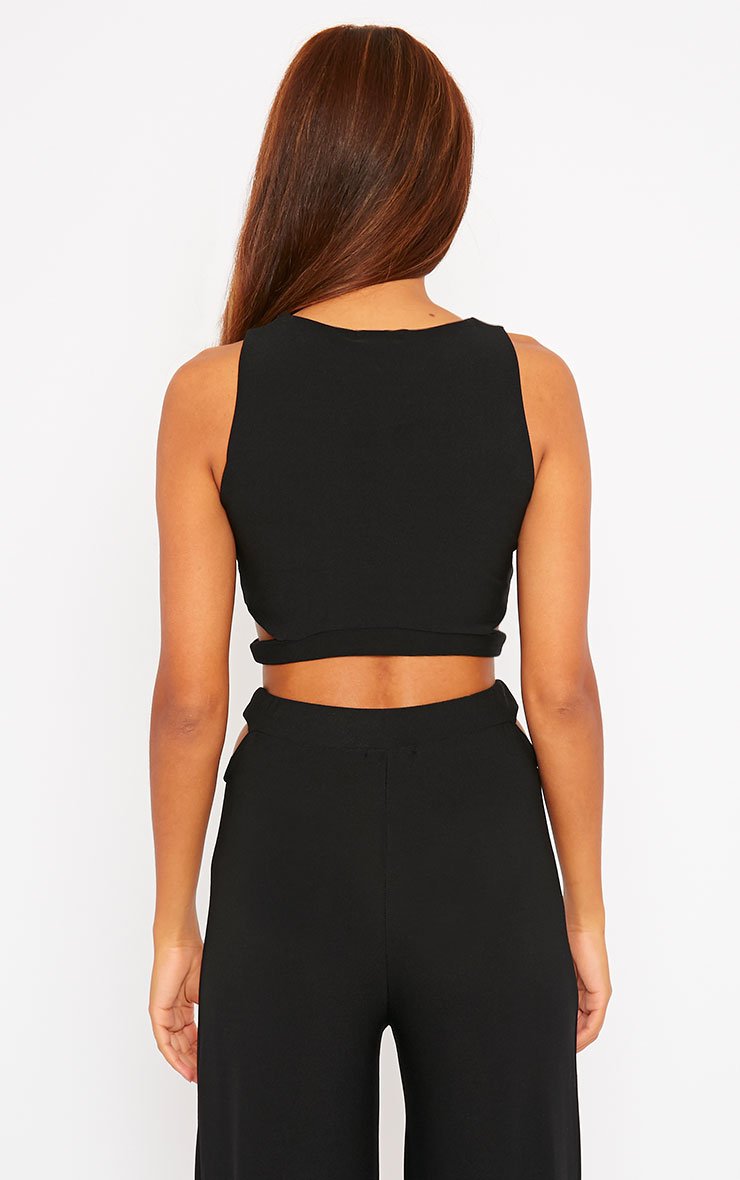 Elphina Black Crepe Cut Out Crop Top 2