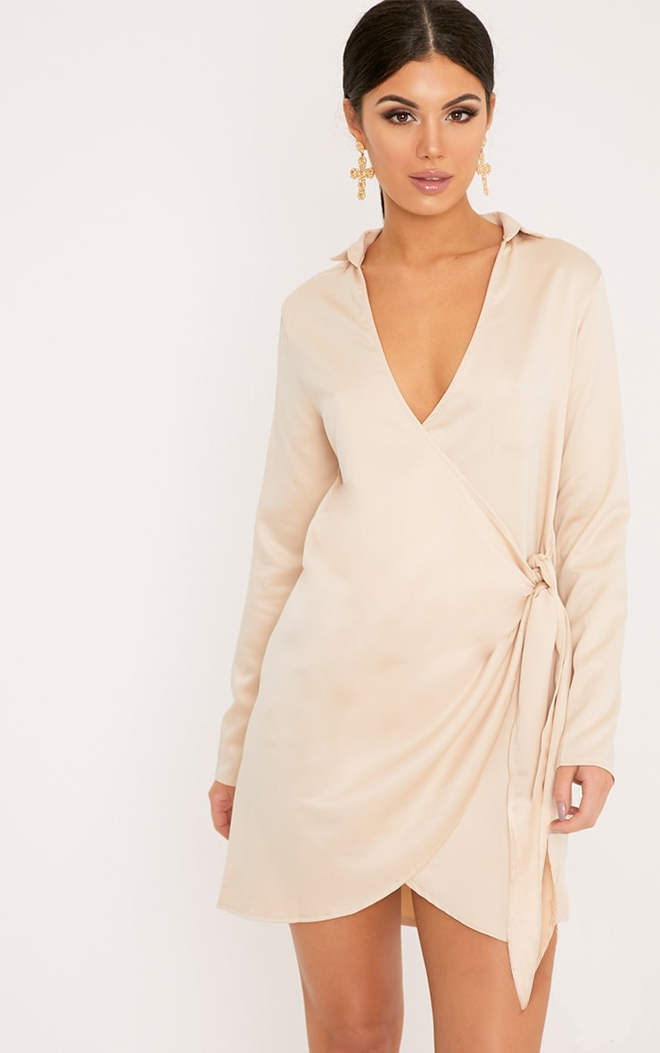 Shaylene Champagne Tie Side Satin Shirt Dress 1