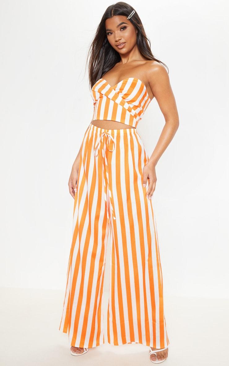 Bright Orange Stripe Wide Leg Pants 1