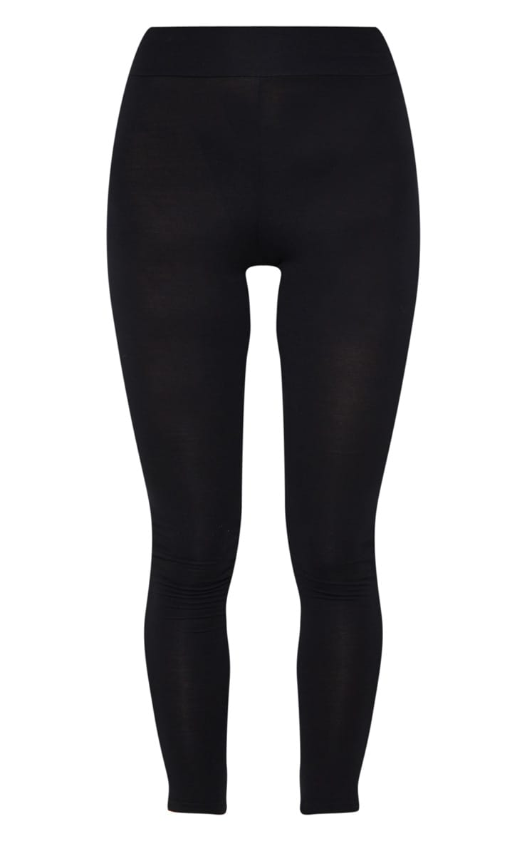 Basic Black High Waisted Jersey Leggings 5