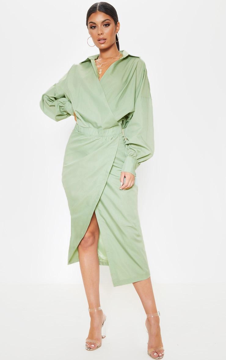 Sage Khaki Midi Shirt Dress 1