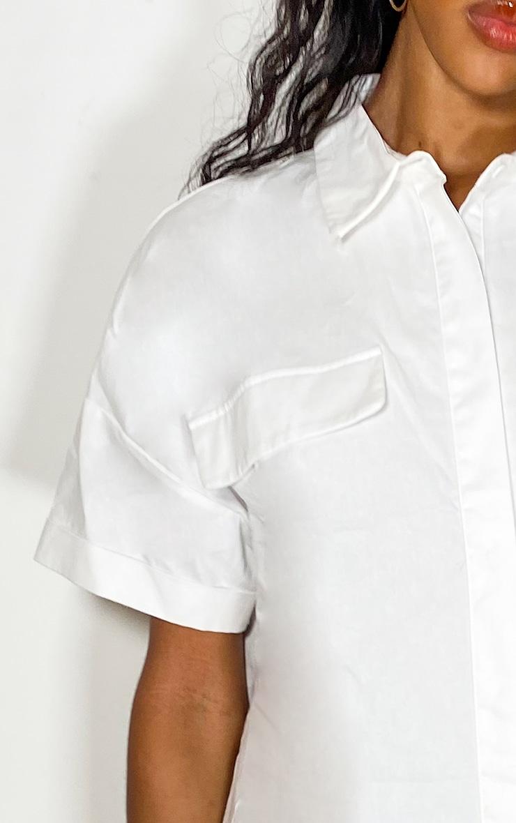 White Oversized Utility Shirt dress 4