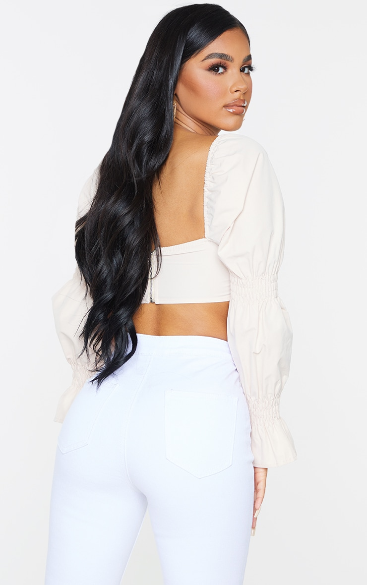 Petite Stone Ruched Detail Cropped Blouse 2