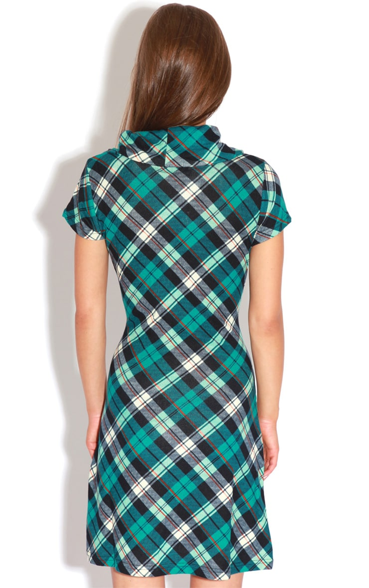 Addie Blue Tartan Dress  2