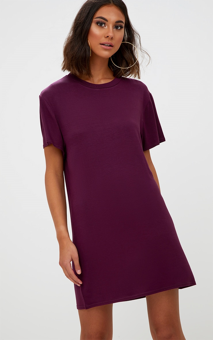Basic Aubergine Short Sleeve T-Shirt Dress 1