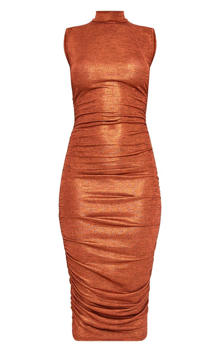 Alexia Copper Metallic High Neck Midi Dress 3