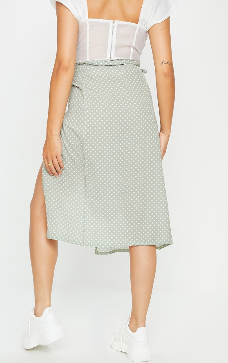 Sage Polka Dot Wrap Around Midi Skirt 3