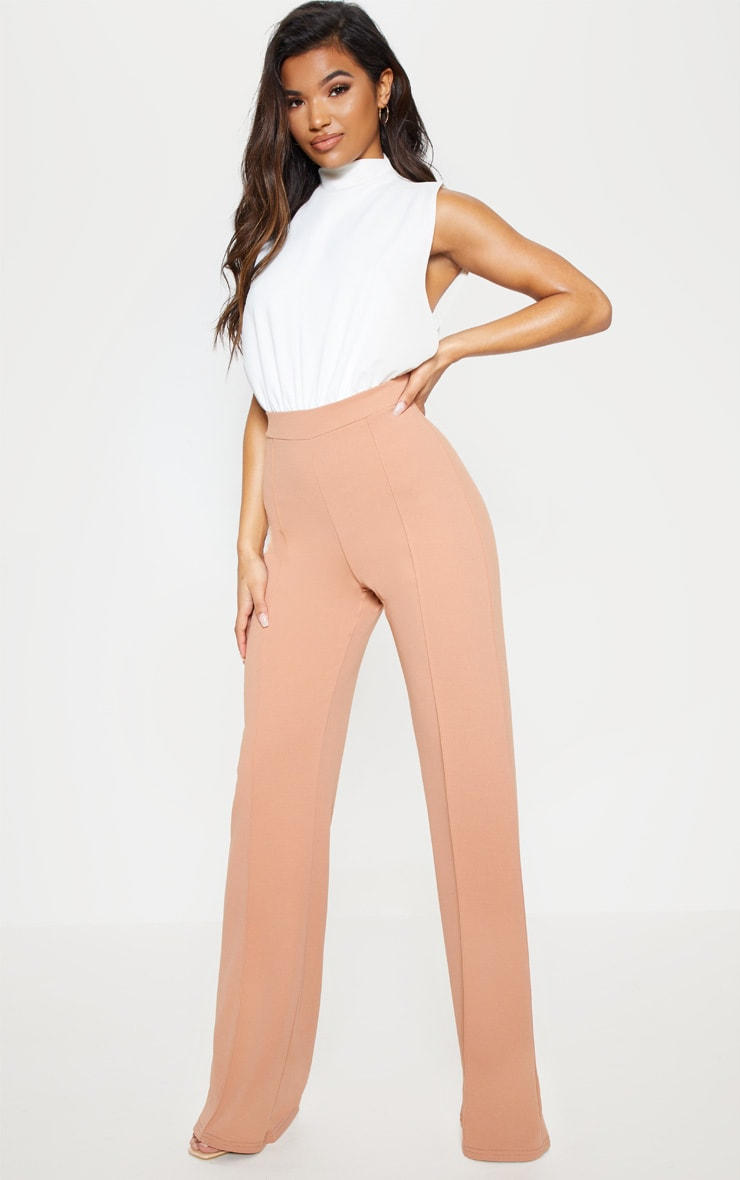 Nude High Neck Wide Leg Jumpsuit 2