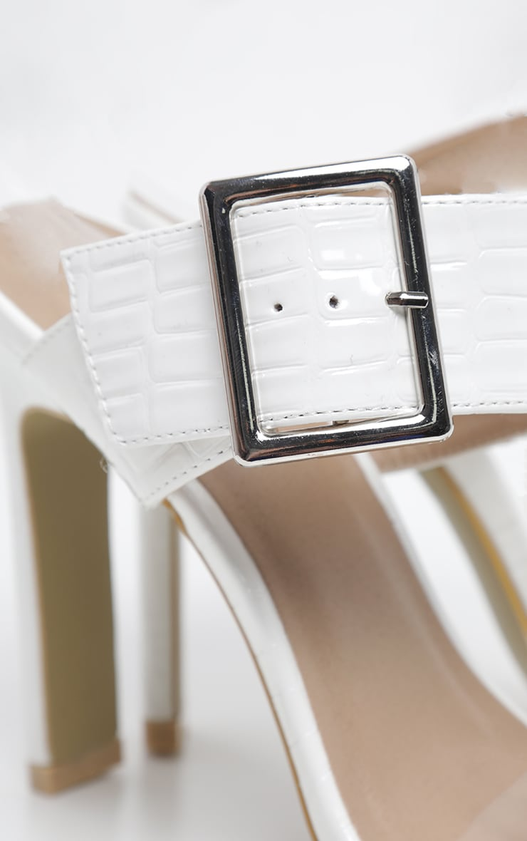 White Flat Heel Square Toe Buckle Strap Mule 4