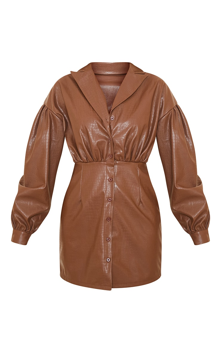 Brown Croc Faux Leather Ruched Detail Balloon Sleeve Shirt Dress 5