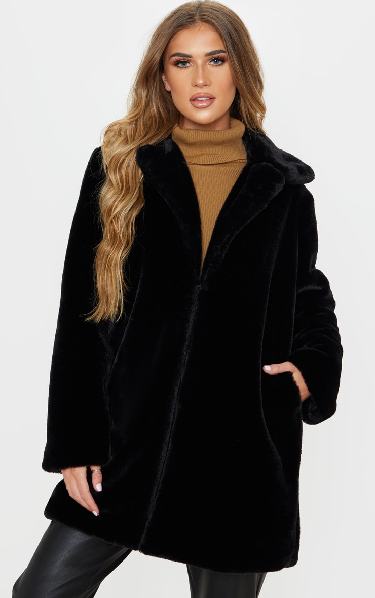 Black Faux Fur Midi Collar Coat 4