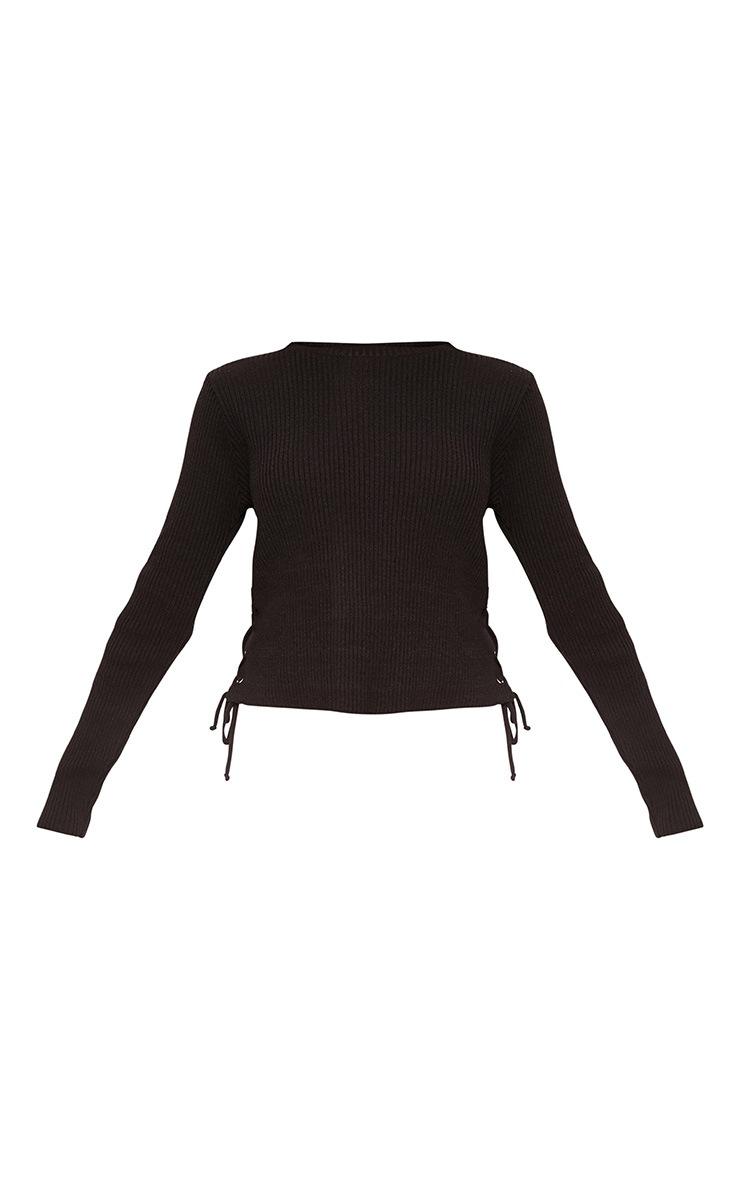 Black Side Tie Knit Crop Top 3