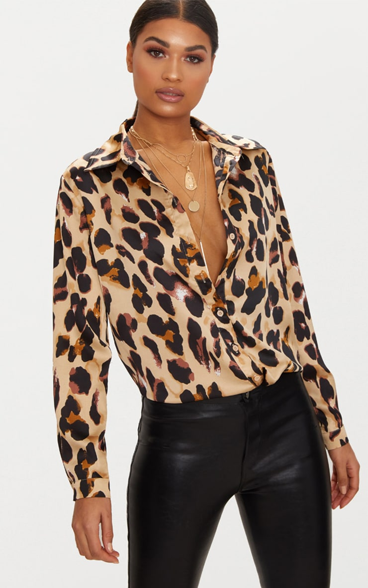 Tan Leopard Print Satin Oversized Shirt 1