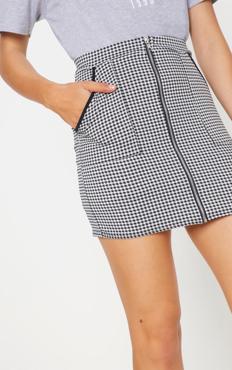 Black Gingham Zip Front Mini Skirt 6