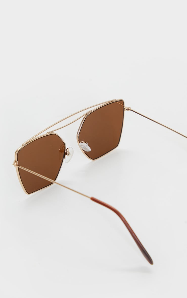 Gold Trim Double Bar Sunglasses 4