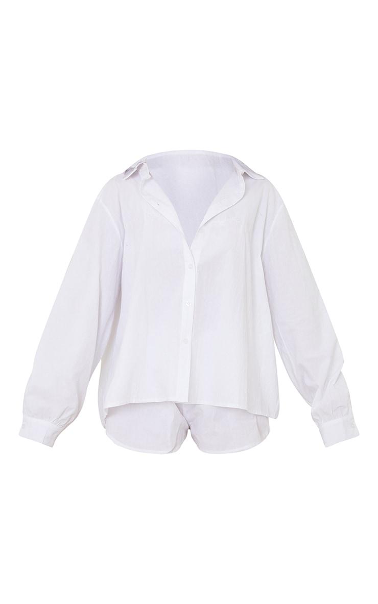 White Cotton Oversized Shirt And Boxer Shorts PJ Set 5