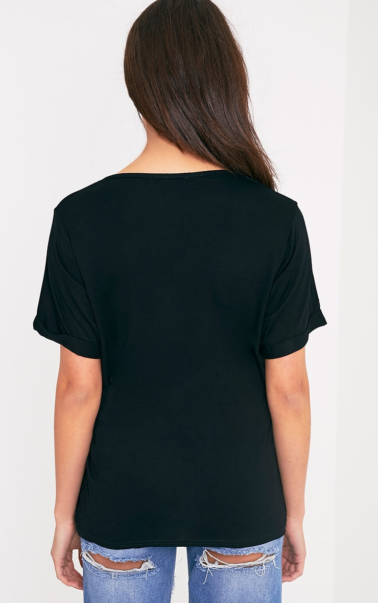 Basic Black V-Neck Roll Sleeve T-Shirt 2