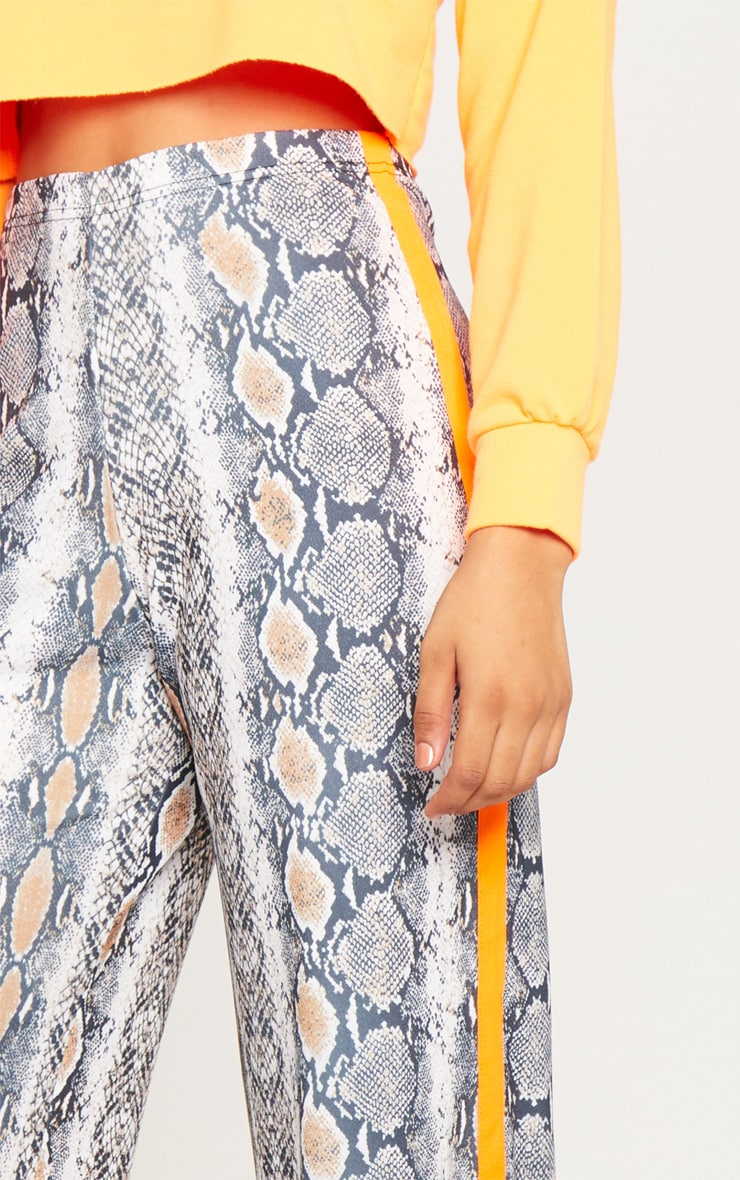 Tall Snake Print Neon Orange Stripe Pants  5