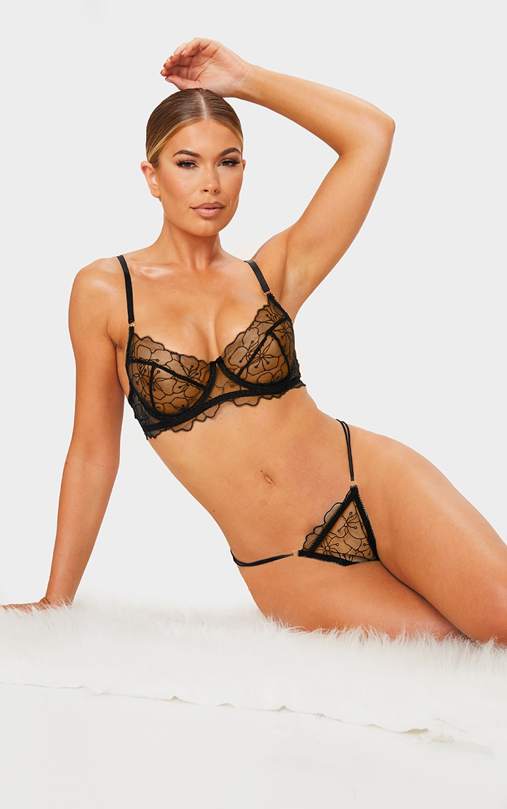 Black Underwired Embroidered Floral Lace Lingerie Set 3