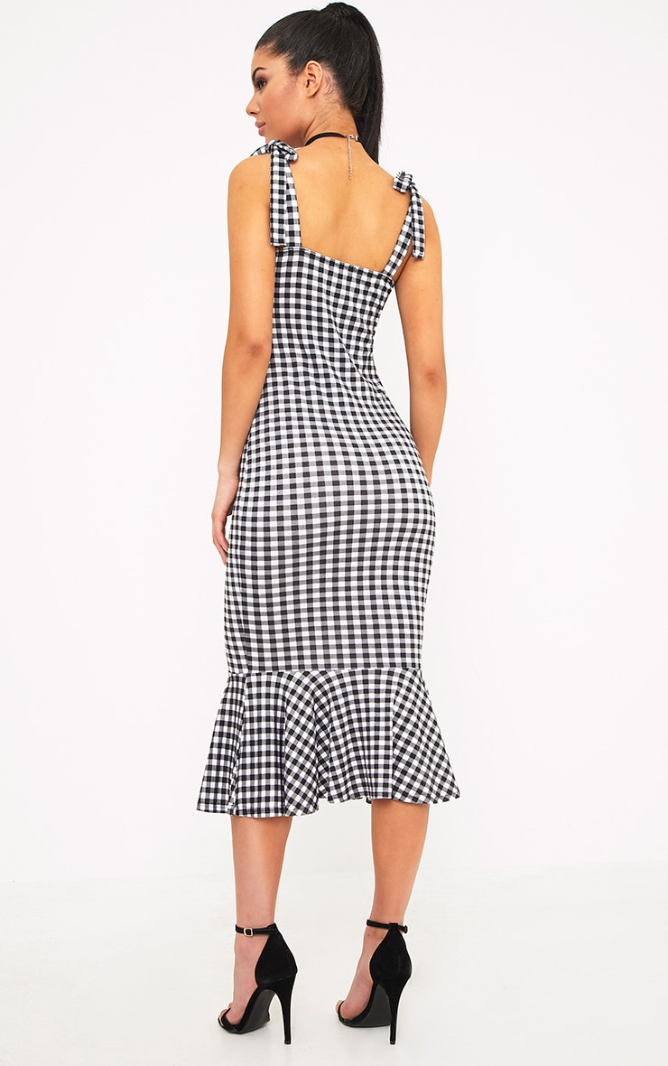 Caelyn Black Gingham Shoulder Tie Frill Hem Dress 2