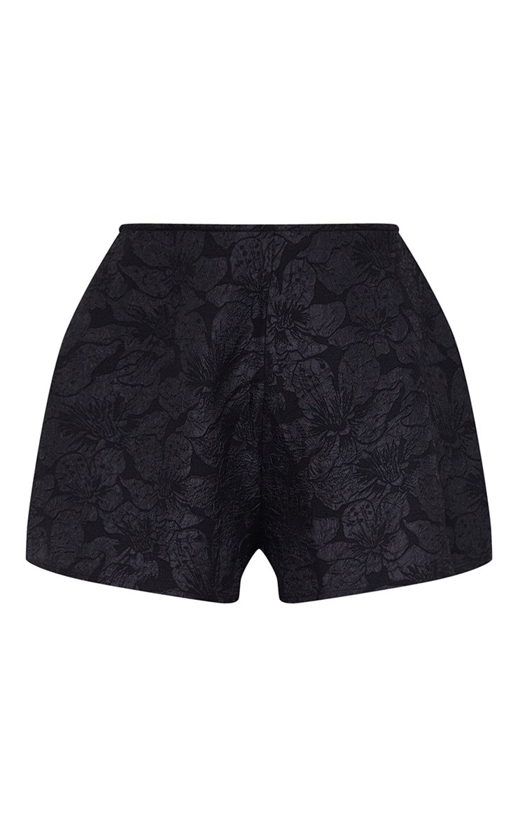 Black Embossed Jacquard A Line Shorts 6