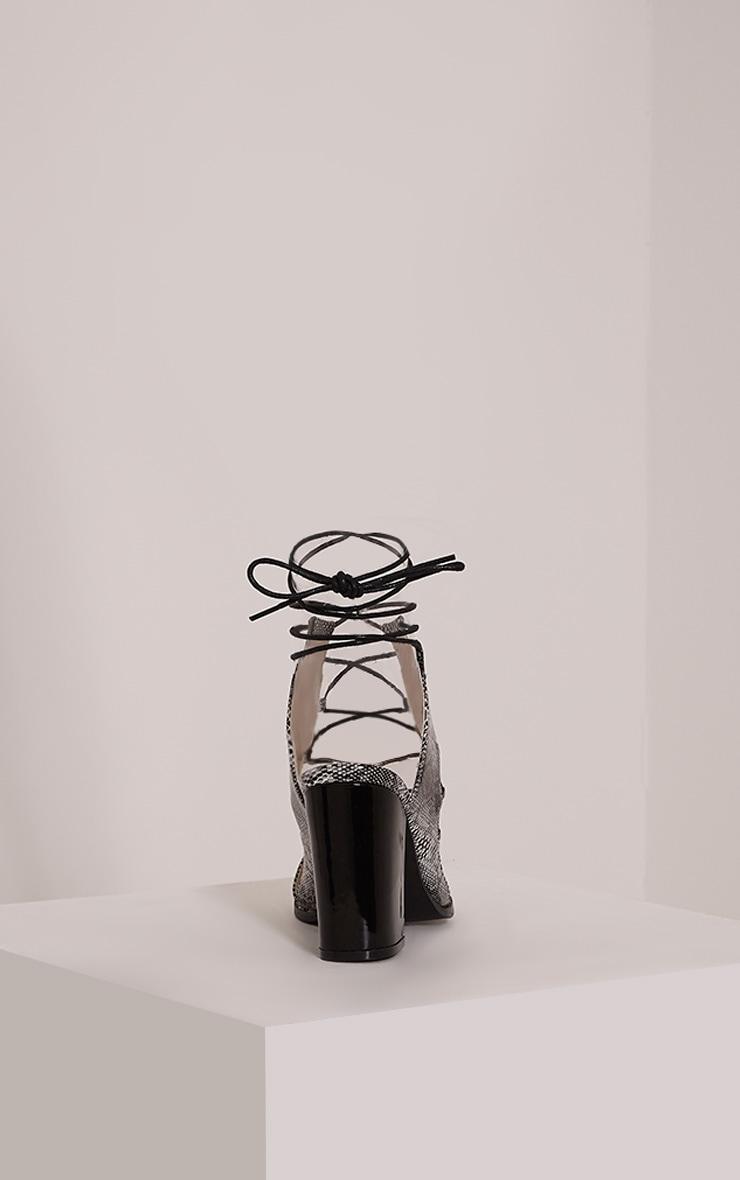 Lisa Grey Snakeprint Lace Up Heeled Sandals 4