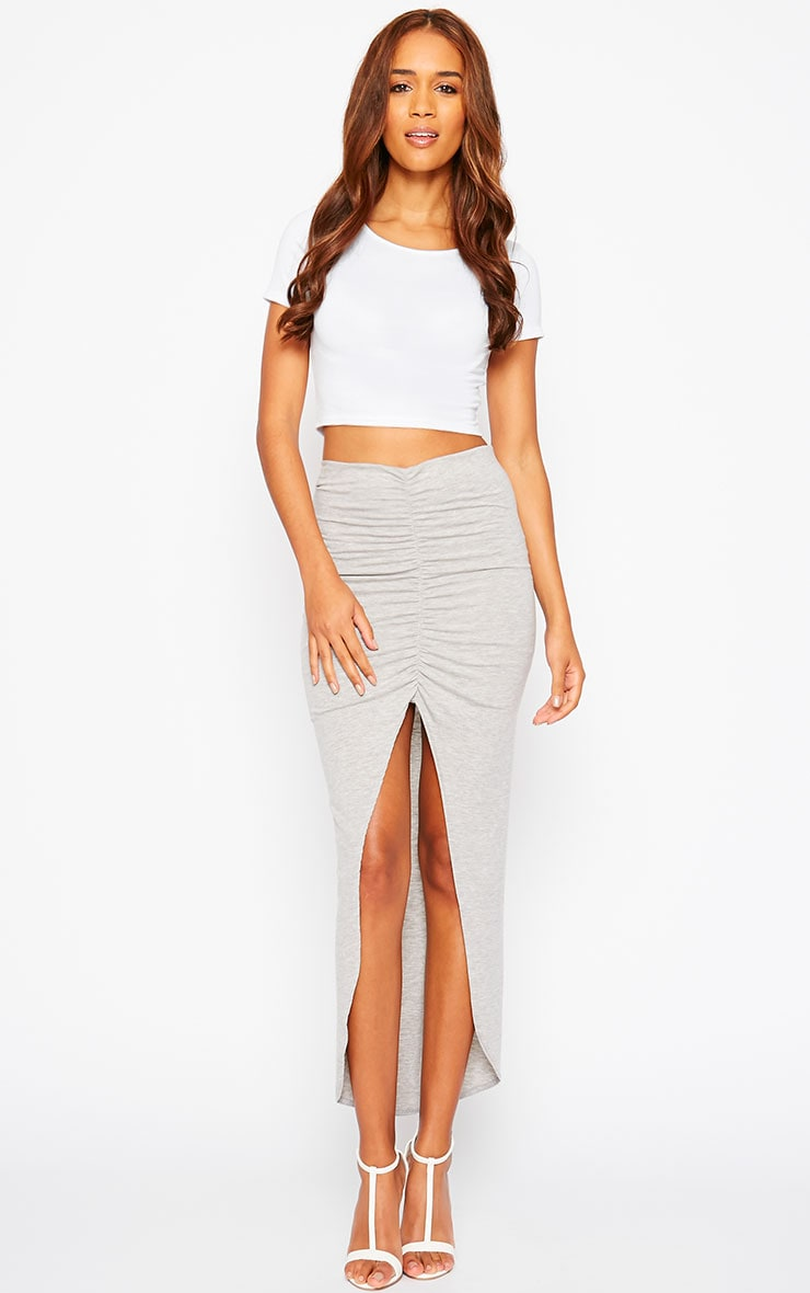 Omari Grey Ruched Front Jersey Maxi Skirt 1