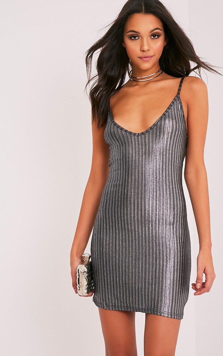 Abbygail Silver Metallic Ribbed Knitted Mini Dress 1