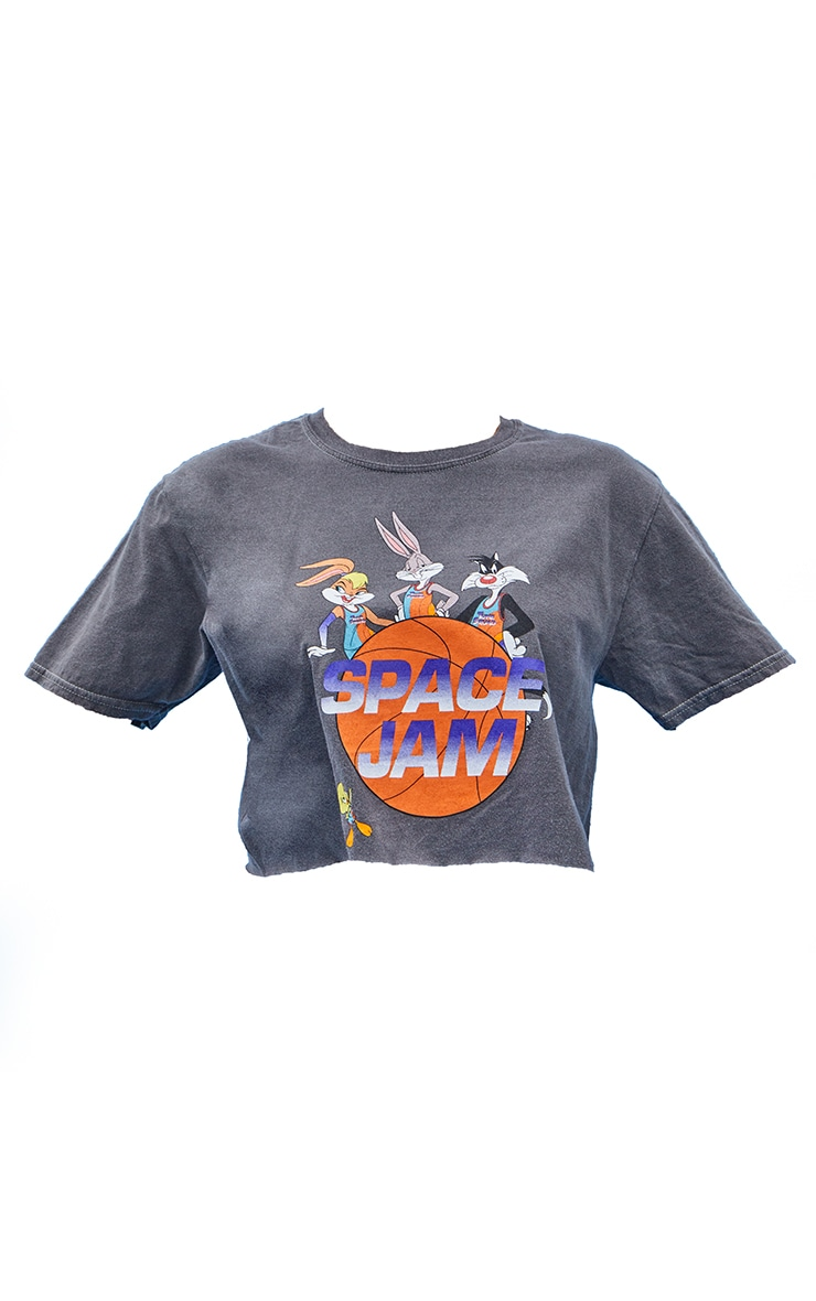 Charcoal Space Jam Printed Crop Washed T Shirt 5