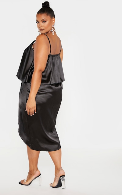 Plus Black Satin Wrap Detail Midi Dress