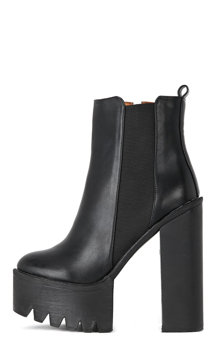 Black Chunky Cleated Sole Chelsea Boot 1
