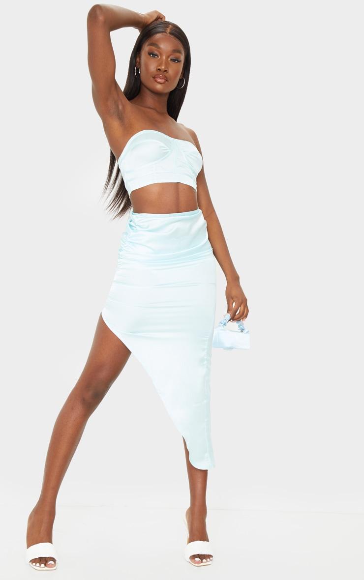 Tall Mint Blue Satin Ruched Side Midi Skirt 1