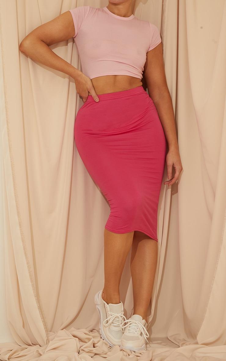 Hot Pink Basic Midi Skirt 1