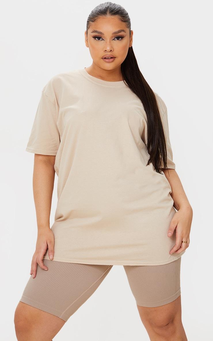 Plus Sand Oversized Boyfriend T Shirt 1