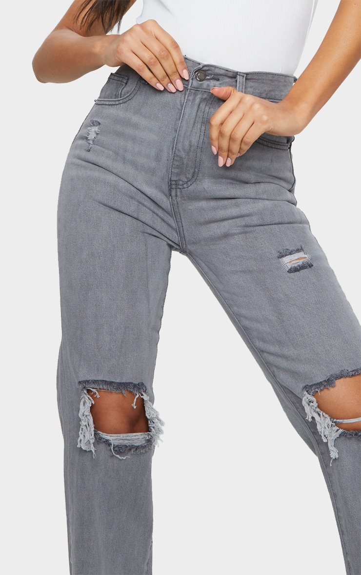Washed Grey Distressed High Waist Straight Leg Jean 4