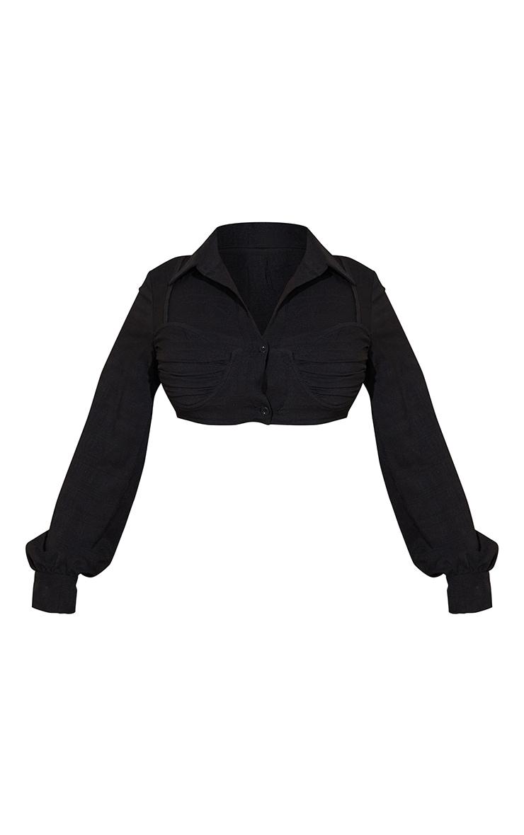 Black Textured Bralet Detail Cropped Shirt 5
