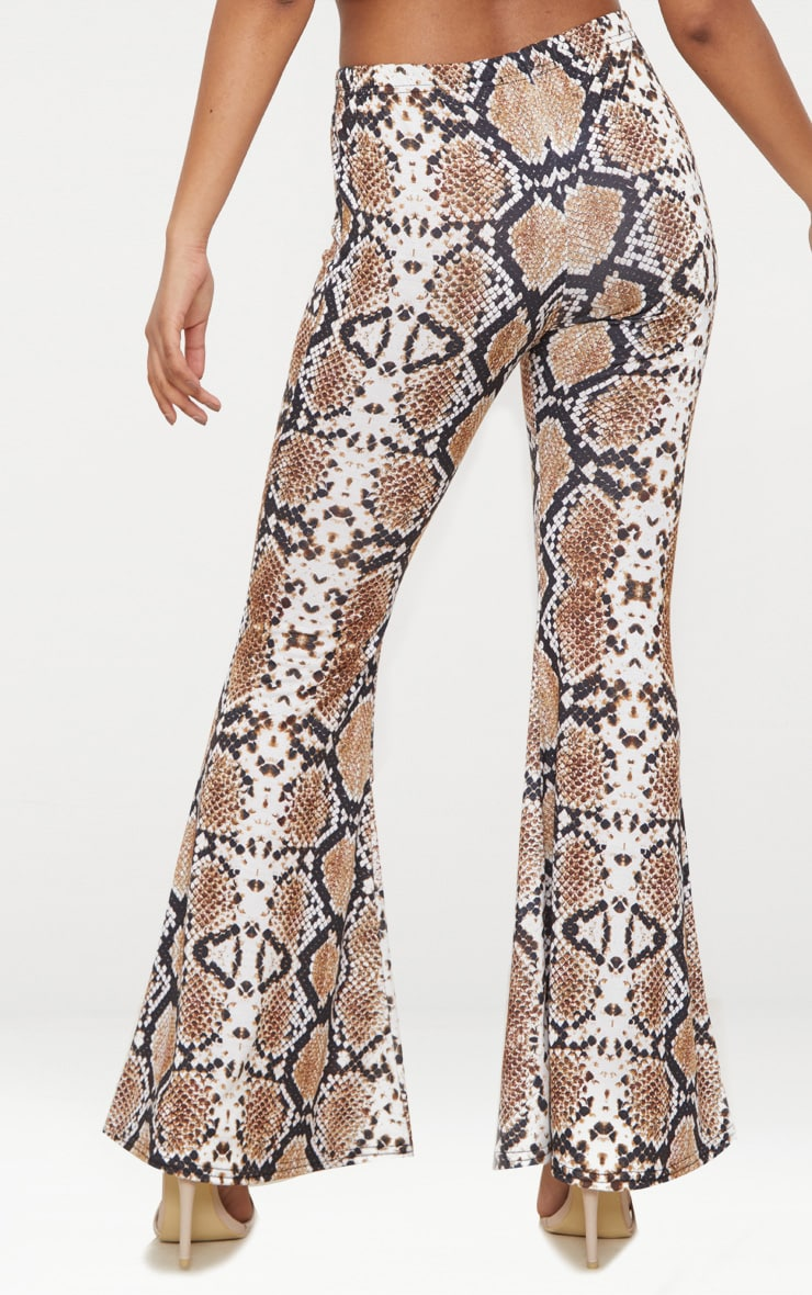 Petite White Snake Print Flared Trousers 5