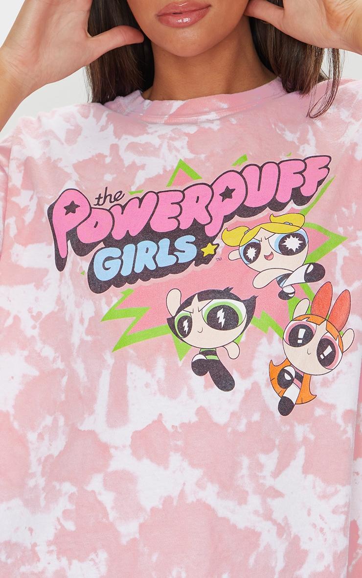 Pink Powerpuff Girls Tie Dye Printed T Shirt 4