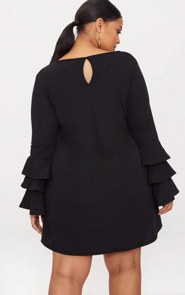 Plus Black Frill Sleeve Shift Dress 2