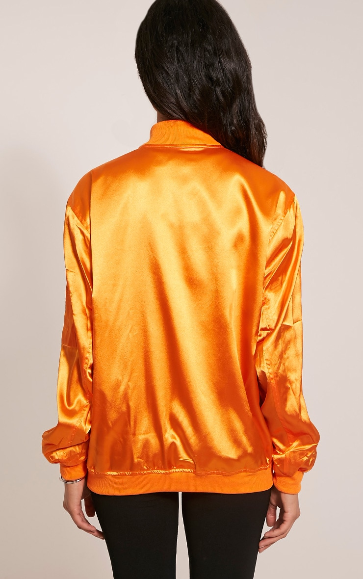 Sheena Orange Satin Bomber Jacket 3