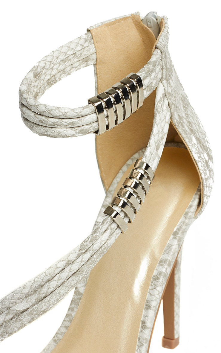 Riley Snake Cross Strap Heeled Sandals 5