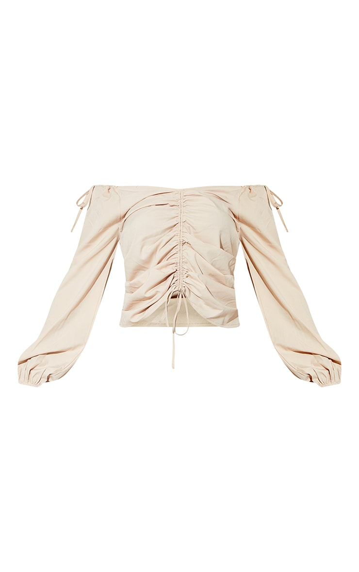 Sand Oversized Sleeve Woven Ruched Blouse 5
