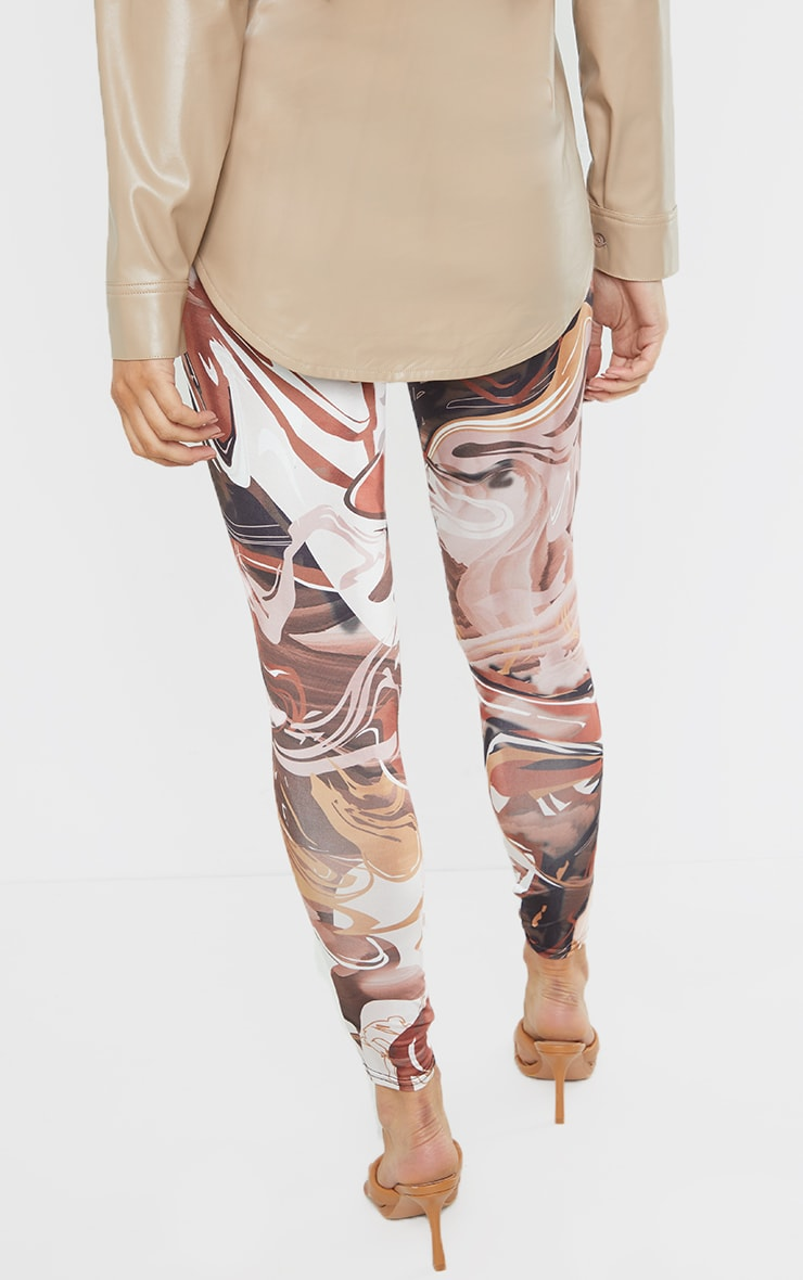 Maternity Chocolate Abstract Print Ruched Leggings 3