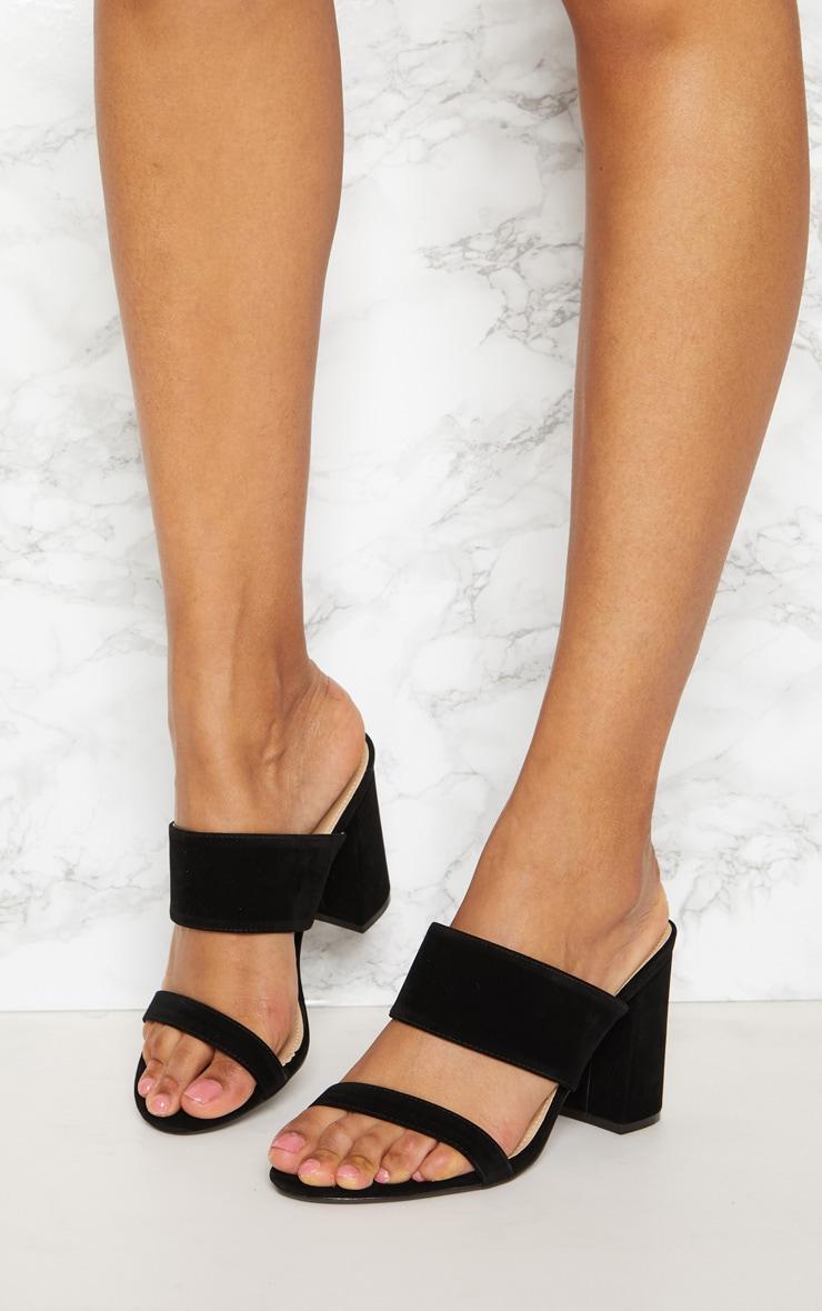 Black Twin Strap Block Heel Mule 2