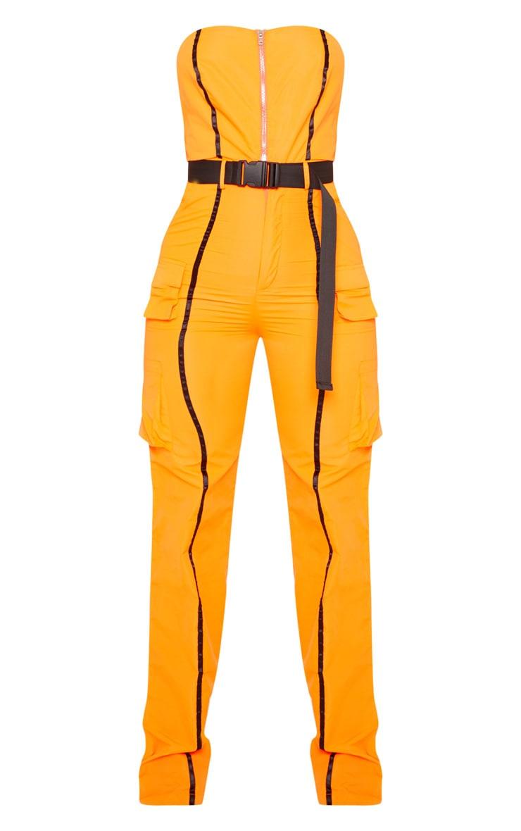 Neon Orange  Shell Suit Bandeau Jumpsuit 3