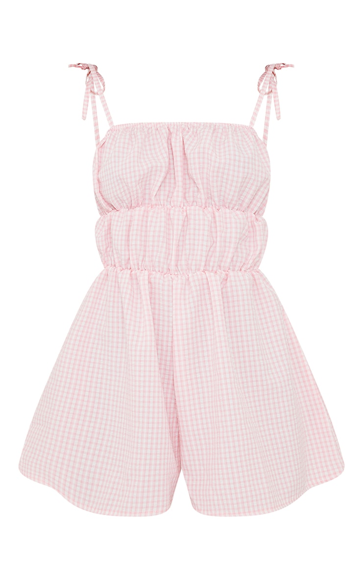 Pink Gingham Tie Strap Ruched Playsuit 5