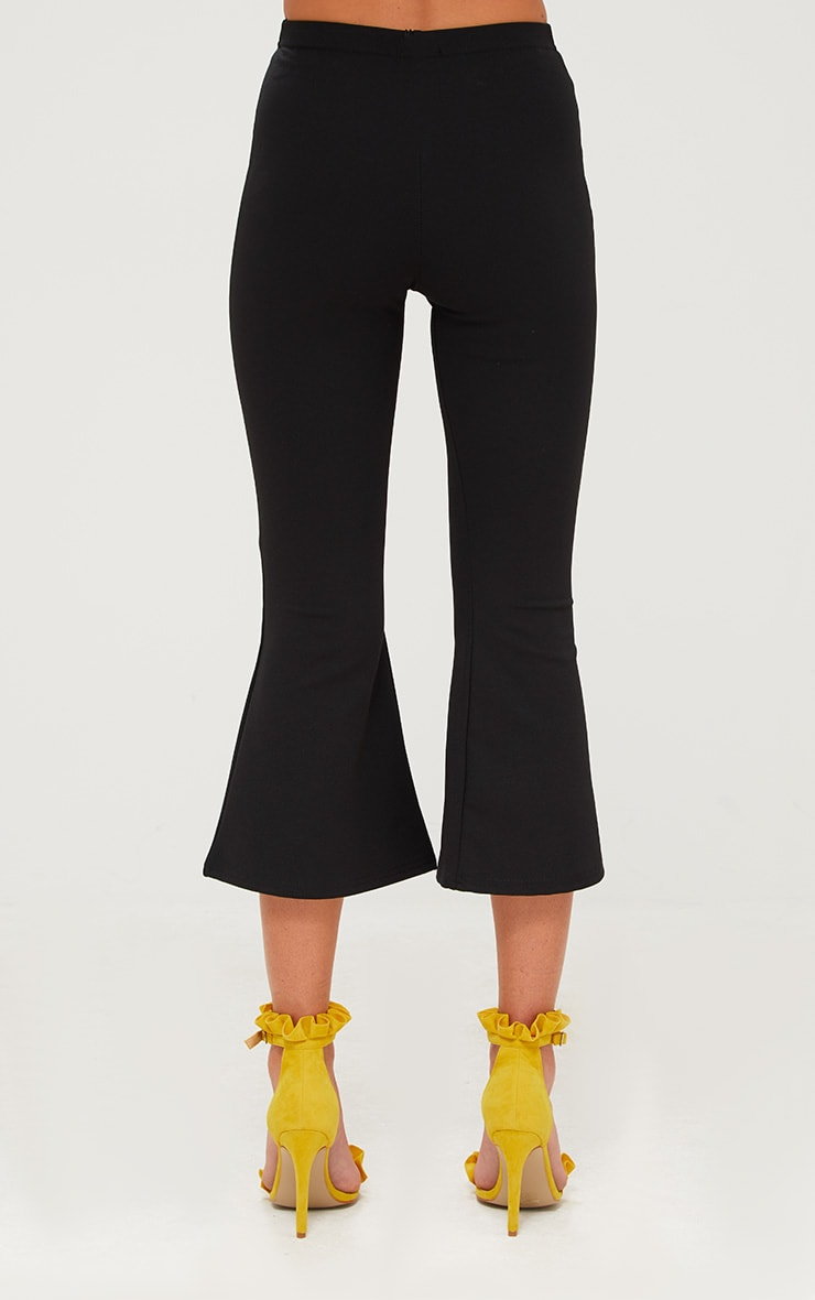 Black Cropped Flare Trousers 4
