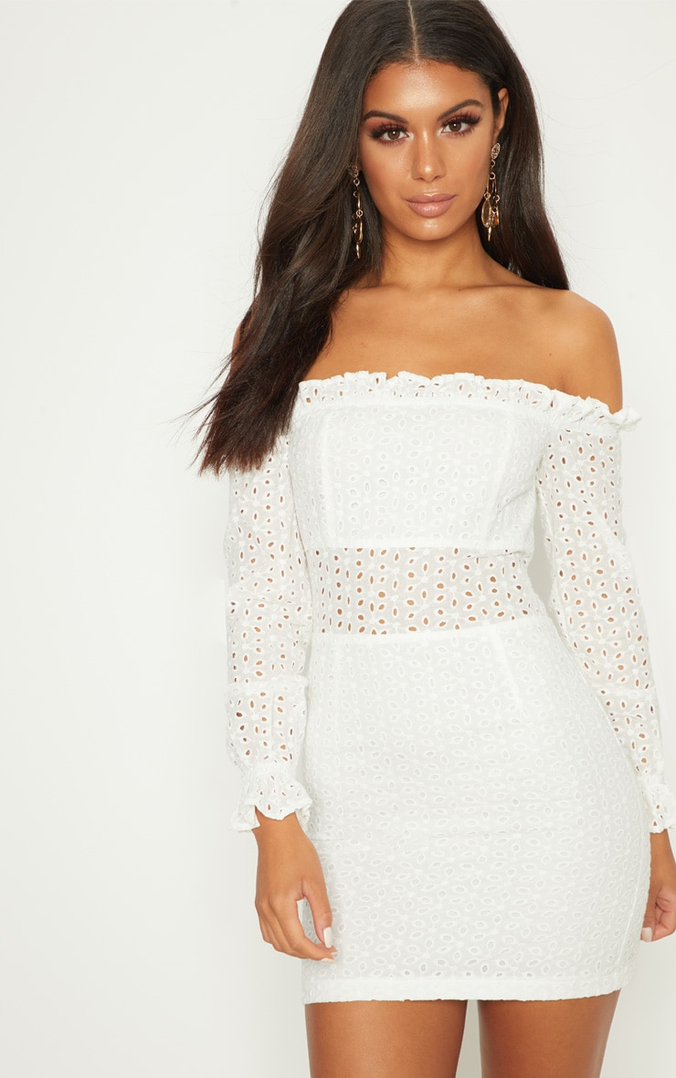 White Broderie Anglaise Bardot Bodycon Dress 1