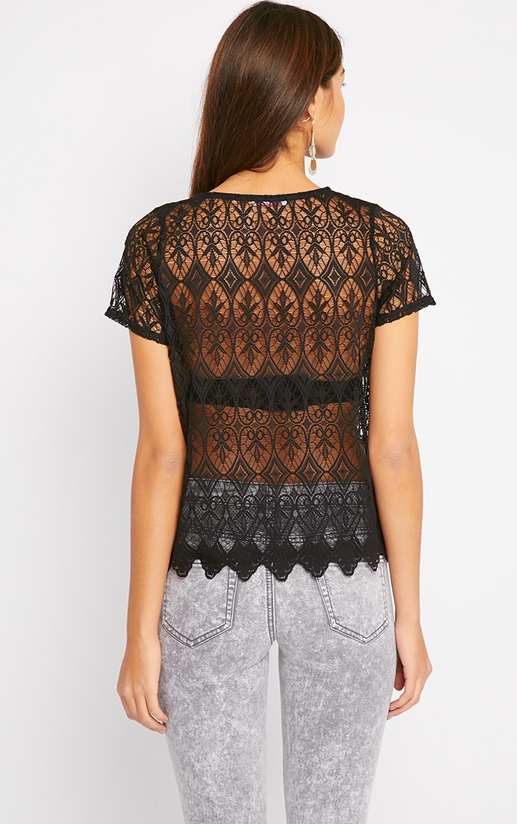 Nina Black Scallop Trim Lace Top  2